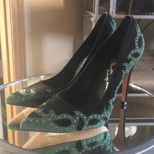 Alice +Olivia New Black and Green Suede Heels SZ40